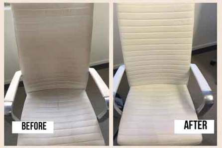 before and after image of a white leather chair after being clearned by Logos Specialty Furniture Cleaners